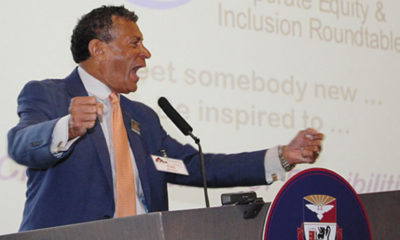 FIRED UP—Corporate Equity and Inclusion Roundtable founder Tim Stevens revs up the crowd at the Fourth Annual CEIR event at the Duquesne University Power Center Ballroom, June 20, 2016. (Photo by J.L. Martello;/ File)