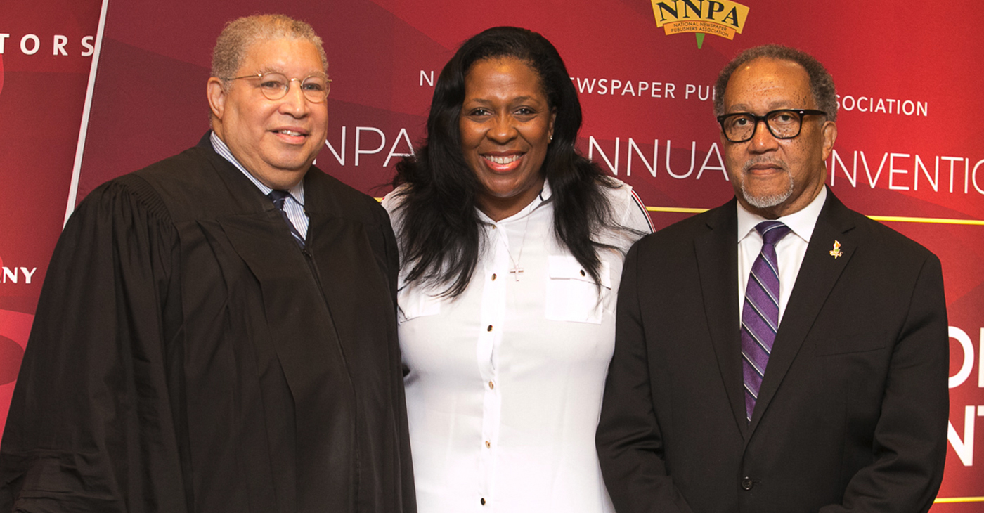 """We are the Black Press of America, the National Newspaper Publishers Association, so when I ask are you down with O.B.P., I am talking about letting people know that we are the Original Black Press, and we aren't going anywhere,"" said newly Elected NNPA Chair, Karen Cater Richards, publisher of the Houston Forward Times. (pictured left to right: Judge Tyrone K.Yates, who officiated the swearing in of officers; Karen Carter Richards, NNPA Chair and publisher of the Houston Forward Times; and Dr. Benjamin F. Chavis, Jr., NNPA President and CEO)"