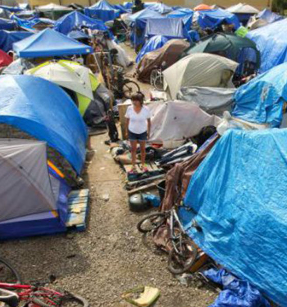 Homeless encampments have spread across the state. (Photo courtesy Santa Rosa Press Democrat.)