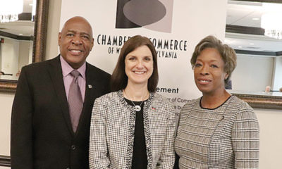 NEW PARTNERS—Chamber Board Vice Chair Lou Alexander and President and CEO Doris Carson Williams pose with Diana Charletta of Equitrans (Center), a new President's Roundtable member.